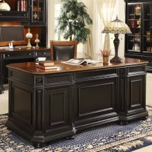 Allegro - Executive Desk - Burnished Cherry/rubbed Black Finish