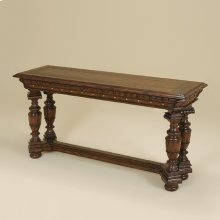 DARK ANTIQUE LIDO FINISHED CON SOLE TABLE WITH ETCHED BRA SS INLAY