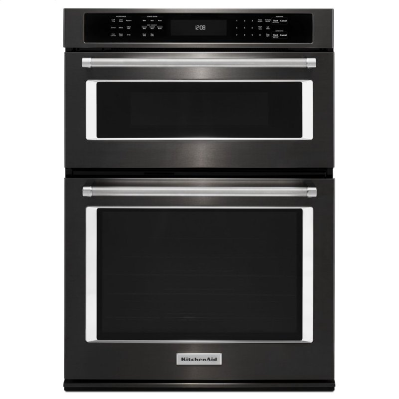 """27"""" Combination Wall Oven with Even-Heat™ True Convection (lower oven) - Black Stainless Steel with PrintShield™ Finish"""