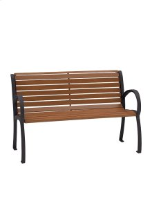 District 4' Bench with Back and Arms, Faux Wood Slat