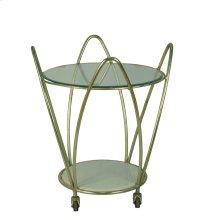 2-tier Gold Metal Bar Cart: Round