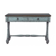 Distressed Two Drawer Entryway Console Table in River Blue