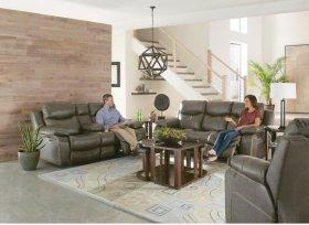 Power Headrest Lay Flat Reclining Sofa w/Drop Down Table
