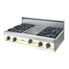 """Lemonade 36"""" Open Burner Rangetop - VGRT (36"""" wide, four burners 12"""" wide griddle/simmer plate)"""