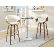 Contemporary Walnut and Cream Bar Stool