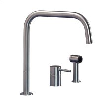 3 hole kitchen mixer with side spray and square spout.