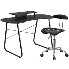 Black Computer Desk with Monitor Platform and Tractor Chair