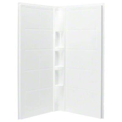"""Intrigue™ 39"""" x 39"""" x 75"""" Corner Shower with Age in Place Backers - Wall Set - White"""