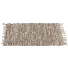 Beige Leather Chindi 2' x 3' Rug (Each One Will Vary)