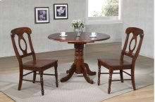 "Sunset Trading 3 Piece 42"" Round Drop Leaf Dining Set in Chestnut with Napoleon Chairs"