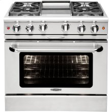 "36"" Gas Convection Range with 6 Sealed Burners 19K BTU + 12"" Griddle"