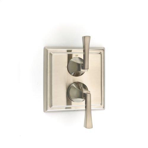 Dual Control Thermostatic with Diverter and Volume Control Valve Trim Leyden (series 14) Satin Nickel