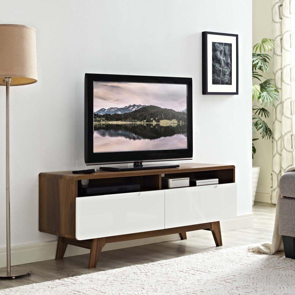 """Origin 47"""" TV Stand in Walnut White"""
