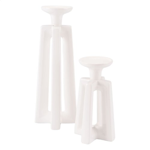Queen Candle Holder Lg White