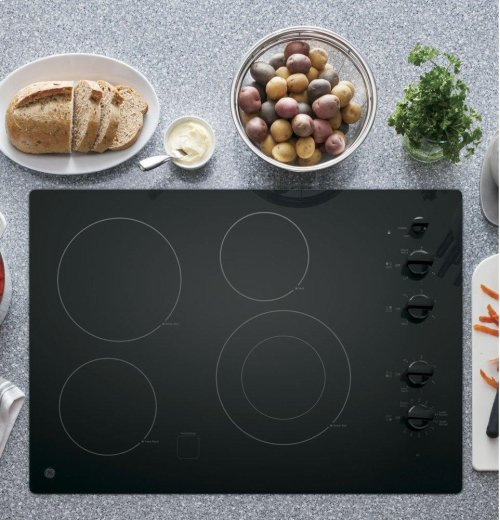 """GE® 30"""" Built-In Knob Control Electric Cooktop"""