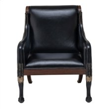 ESPRESSO FINISHED NEOCLASSICAL OCCASIONAL CHAIR, BLACK LACQ UER ON CARVED CAST RESIN WINGS