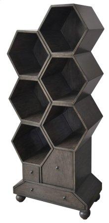 Westgate 3 Drawer Slate Grey Hexagon Bookshelf