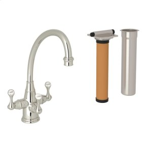 Polished Nickel Perrin & Rowe Georgian Era Filtration 3-Lever Kitchen Faucet with Etruscan Metal Lever