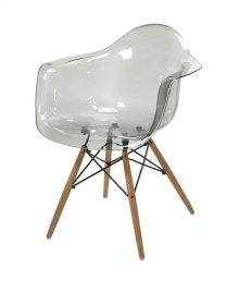 Beckett Grey Transparent Chair with Wood Leg