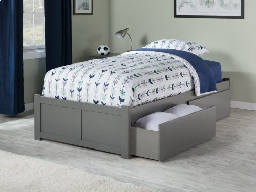 Concord Twin XL Flat Panel Foot Board with 2 Urban Bed Drawers Atlantic Grey