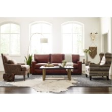 Leather Track Arm Sofa with Nail Head Trim