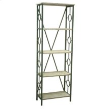 Key Largo Seafoam Green Etagere with Antique White Wood Shelves
