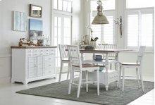 Counter Table Base - Light Oak/Distressed White Finish