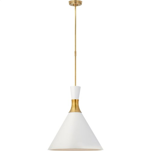 Visual Comfort S5642HAB-WHT Studio VC Liam 1 Light 20 inch Hand-Rubbed Antique Brass Pendant Ceiling Light, Large Conical