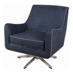 Zora KD Fabric Swivel Arm Chair Stainless Steel Legs, Denim Slate