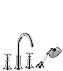 Chrome 4-hole tile mounted bath mixer with cross handles