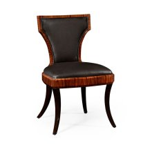 Art Deco Satin Santos Side Chair, Upholstered in Dark Chocolate Leather