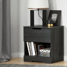 1-Drawer Nightstand - End Table with Storage - Gray Oak