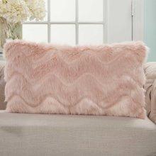 """Faux Fur Vv056 Blush 14"""" X 20"""" Lumbar Pillows"""
