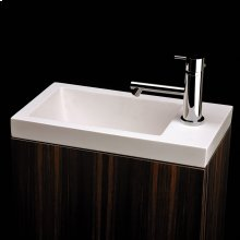 """Self-rimming Bathroom Sink made of solid surface, with an overflow, finished back. 15 7/8""""W x 8 3/4""""D x 6 5/8""""H. Available in one or no faucet holes."""