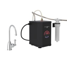 Polished Chrome Perrin & Rowe Georgia Era C-Spout Hot Water Faucet, Tank And Filter Kit with Traditional Metal Lever