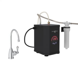 Polished Chrome Perrin & Rowe Georgian Era C-Spout Hot Water Faucet, Tank And Filter Kit with Traditional Metal Lever Product Image