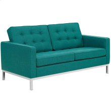 Loft Upholstered Fabric Loveseat in Teal