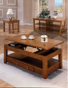 Oak Lift Top Coffee and End Table Set