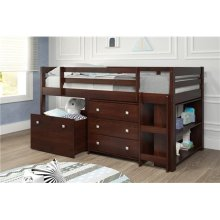 Pine Ridge Brown Low Loft Bed with Slide, Bookcase & Storage with options: Twin, With Chest, Bookcase, Toy Box, and Slide