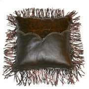 Med Leather Pillow W/Twisted Fringe Product Image