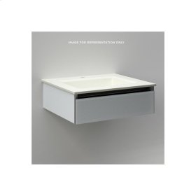 "Cartesian 24-1/8"" X 7-1/2"" X 18-3/4"" Slim Drawer Vanity In Mirror With Slow-close Plumbing Drawer and No Night Light"