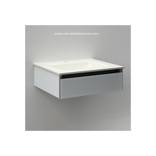"""Cartesian 24-1/8"""" X 7-1/2"""" X 18-3/4"""" Slim Drawer Vanity In Mirror With Slow-close Plumbing Drawer and No Night Light"""