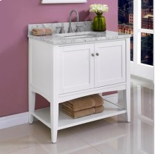 "Shaker Americana 36"" Open Shelf Vanity - Polar White"