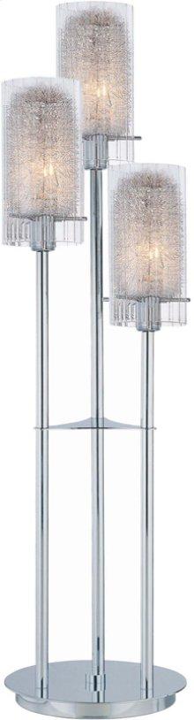 3lite Table Lamp,chrom W/clr Gls&alu Accent,e12 B 40wx3