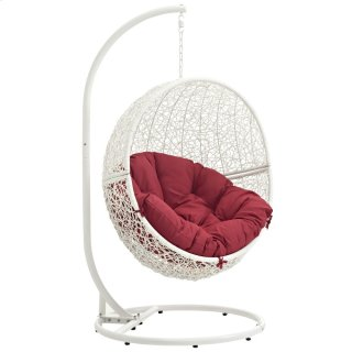 Hide Outdoor Patio Swing Chair With Stand in White Red
