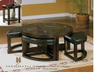 Round Cocktail Table with 4 Ottomans-PU Product Image