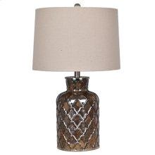 "25"" GLASS TABLE LAMP, OATMEAL SH 14X15X10, 2 PK 5.1'"