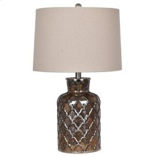 "25"" GLASS TABLE LAMP, OATMEAL SH 14X15X10, 2 PK 5.1'"