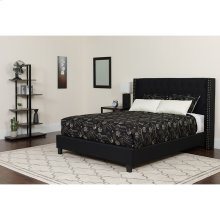 Riverdale Queen Size Tufted Upholstered Platform Bed in Black Fabric