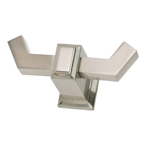 Sutton Place Bath Double Hook - Brushed Nickel